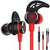 Wired Gaming Headset Noise-canceling Stereo bass Gaming Headset with Microphone, KEKU 3.5mm high-Fidelity earplugs, with Extension Cable for laptops and Mobile Phones (red)