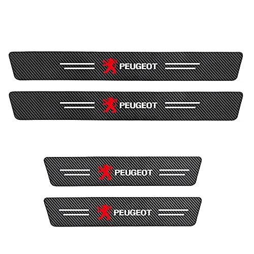 WW87 4 unids coche umbral protector de fibra de carbono placas de patada, para Peugeot umbral bienvenida pedal protección anti-arañazos auto styling Modificatio Accesorios