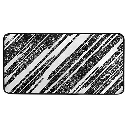MALPLENA - Esterilla para suelo (39 x 20 cm), color blanco y negro