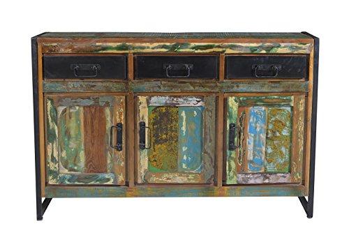 SIT-Möbel Bali 3503-98 Sideboard mit 3 Türen, 3 Schubladen, Mangoholz, bunt lackiert, 130 x 35 x 85 cm