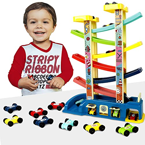 Lekebaby Kugelbahn Autorennbahn, Auto Spielzeug mit 6 Rampen, 8 Doppelseitigen Autos und 3 Auto-Garage, Geschenk Spielzeug für Jungen Mädchen 2+ Jahre