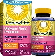 Renew Life Women's Probiotics 50 Billion CFU Guaranteed, 10 Strains, Shelf Stable, Gluten Dairy & Soy Free, 60 Capsules, Ultimate Flora Women's Vaginal
