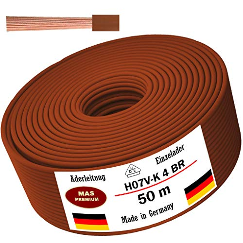 Cable H07 V-K 1 x 4 mm², negro, marrón, azul oscuro, amarillo, gris, azul claro o rojo, cable individual flexible de 5 m, 10 m, 20 m, 25 m, 30 m, 40 m, 50 m hasta 100 m (marrón, 50 m)