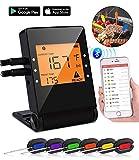 Thermomètre de cuisine sans fil Bluetooth avec écran LCD, thermomètre de numérique avec sondes, cuisson programmable,mode minuterie intelligente, parfait pour la Grill, Support smartphone,6 pack