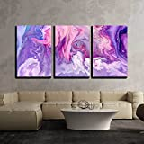 wall26 - 3 Piece Canvas Wall Art - Abstract Purple Paint Background. Acrylic Texture with Marble Pattern - Modern Home Art Stretched and Framed Ready to Hang - 16'x24'x3 Panels