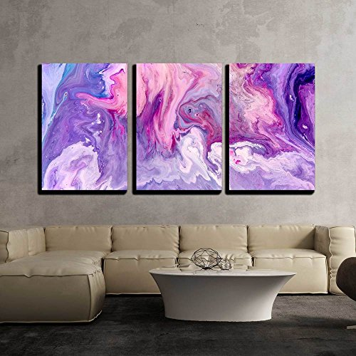 "wall26 - 3 Piece Canvas Wall Art - Abstract Purple Paint Background. Acrylic Texture with Marble Pattern - Modern Home Decor Stretched and Framed Ready to Hang - 16""x24""x3 Panels"