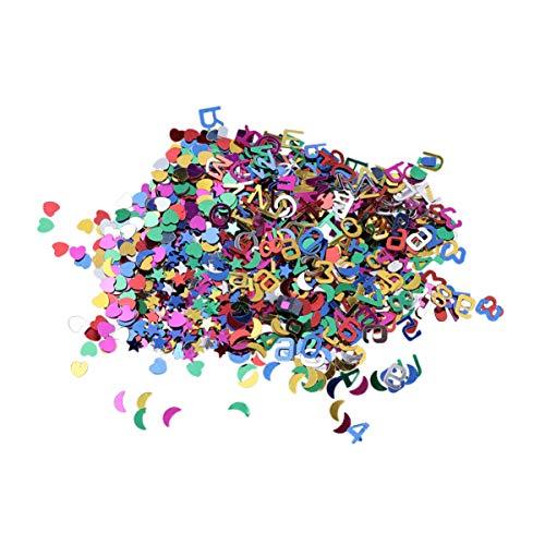 STOBOK 10000 Pcs Anniversaire Paillettes Confettis Paillettes Confettis Étoile Lune Lettre Numéro Coeur Partie Confettis en Plastique Paillette pour M
