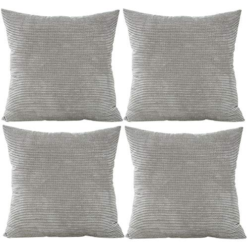 JOTOM Solid Color Corduroy Waist Throw Pillow Case Corn Kernels Soft Cushion Cover for Home Decorative Couch Sofa,45x45cm,Set of 4(Corn Kernels|Grey)