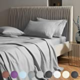 SAKIAO Queen Size Bed Sheets Set - Brushed Microfiber 1800 Thread Count Percale - 16' Deep Pocket Egyptian Sheets Beautiful Breathable Wrinkle Free & Fade Resistant - 4 Piece (Grey,Queen)