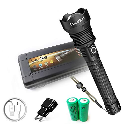 10000 Lumen XHP70 LED-Taschenlampe, leistungsstärkste USB-Direktladung Zoombare taktische Taschenlampe 10000 mAh Wiederaufladbare Li-Ionen-Batterielampe für Camping oder andere Aktivitäten im Freien