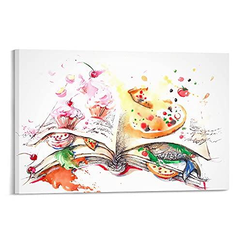 Arte - Illustrazioni creative sul tema dei libri gourmet-Foto su tela decorazione da parete per casa e ufficio, 30 x 40 cm