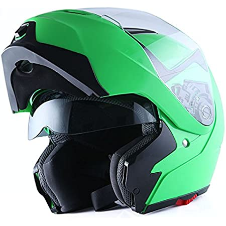 1Storm Motorcycle Street Bike Modular/Flip up Dual Visor/Sun Shield Full Face Helmet (GlossyGreen, X-Small)