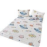 Almohadilla de dormir de látex de tres piezas para verano, sensación fresca, lavable, para el hogar, estudiante, dormitorio, colchón de refrigeración de dibujos animados (tamaño: 59 x 79 pulgadas)