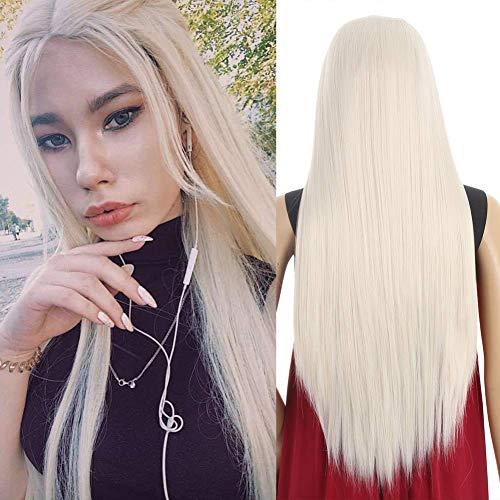Xtrend 24 Zoll Light 60# Platinblonde Lace Front Perücken für Frauen Langes gerades freies freies Teil Synthetische Faser Hitzebeständige Haarperücken mit Babyhaar