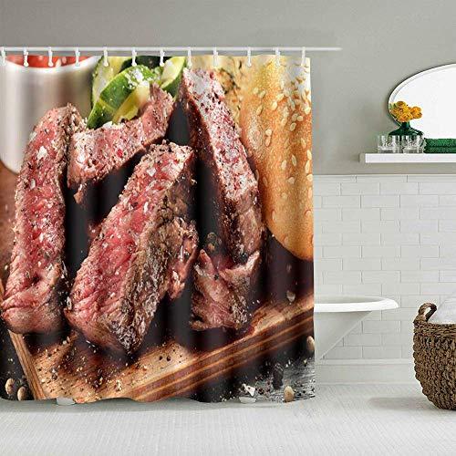 Duschvorhang Prime Black Angus Steak Burger Mittel Seltener Grad an Steak Doneness Grafikdruck wasserdichte Badeinlagen Haken enthalten - Badezimmer Dekorative Ideen
