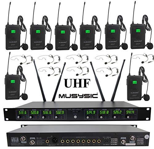 MUSYSIC MU-U8-LL Professional 8-Channels UHF Lapel Lavalier & Headset Wireless Microphone System (FCC Compliance)