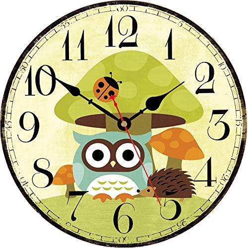 VIKMARI Decorativo Reloj de Pared de 14 Pulgadas con Pilas silenciosa para no Hacer tictac del Reloj de Pared de Madera Redonda del búho 14 Inch Setas búho
