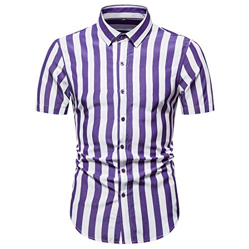 Camisas a Rayas para Hombre, Ajustadas, Ajustadas, clásicas, de un Solo Pecho, cómodas, Transpirables, a la Moda, Hermosas Camisas de Manga Corta Medium