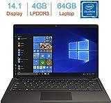 PC Portable 14.1' FHD Ordinateur Portable Windows 10, Celeron-n3350 Laptop, 2.4 GHz, 4GB RAM 64GB ROM/1TB, Quad Core Ultrabook (Cadeau: étiquettes Clavier AZERTY)