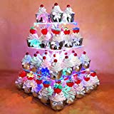 HEXNUB 4 Etagen Acryl Cupcake Stand Erleuchte Kuchen und Dessert Quadrat Display Servier Turm mit LED Lichter für Hochzeitsparties Geburtstag Babyparties Nachmittag Tee (Mehrfarbig)