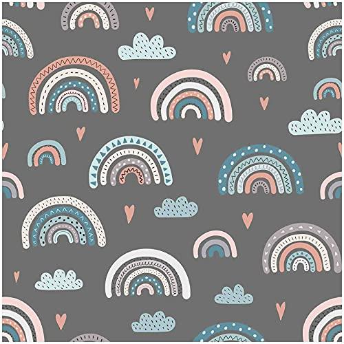 VmG-Store Tela de jersey por metros para coser II, de algodón, para niños, 150 cm de ancho (arcoíris pastel gris JB015, 50 x 150 cm)