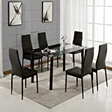 Dining Table And Chairs Set 6 Faux Leather Padded Chairs & Rectangular Glass Dinning Tables With Modern Design Dinner Set Furniture For Home, Office, Kitchen (Black Table With 6 Black Chairs)