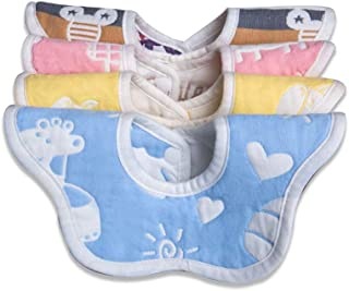 Baby Bibs,360 Rotational Organic Cotton Baby Bibs Set Breathable Bandana Bib for Drooling and Teething Baby Girl and Boy as Shower Gift