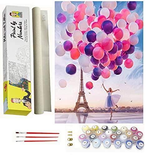 Pintar por numeros para Adultos Paris - Chica con Globos - Cuadro de Pinturas con numeros con Pinceles y Colores Brillantes - Lienzo con numeros Dibujado fácil de Pintar para Adultos y niños