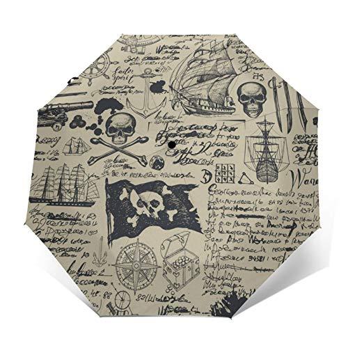 DOWNN Paraguas automático de triple pliegue 3D con estampado exterior sin costuras en diseño vintage pirata, impermeable, resistente al viento, duradero, plegable, para hombre y mujer al aire libre