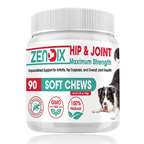 ZENDIX Dog Essential Hip and Joint Supplement for Both Small and Large Dogs Contains Glucosamine, Hemp Oil, Turmeric - Natural Relief from Hip Ache, Stiff Joints with Maximum Strength - 90 Soft Chews
