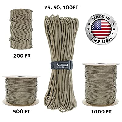GOLBERG 550lb Parachute Cord Paracord - 100% Nylon USA Made Mil-Spec Type III Paracord - Used by The US Military - Multiple Colors and Lengths Available (Tan 499, 25 Feet)