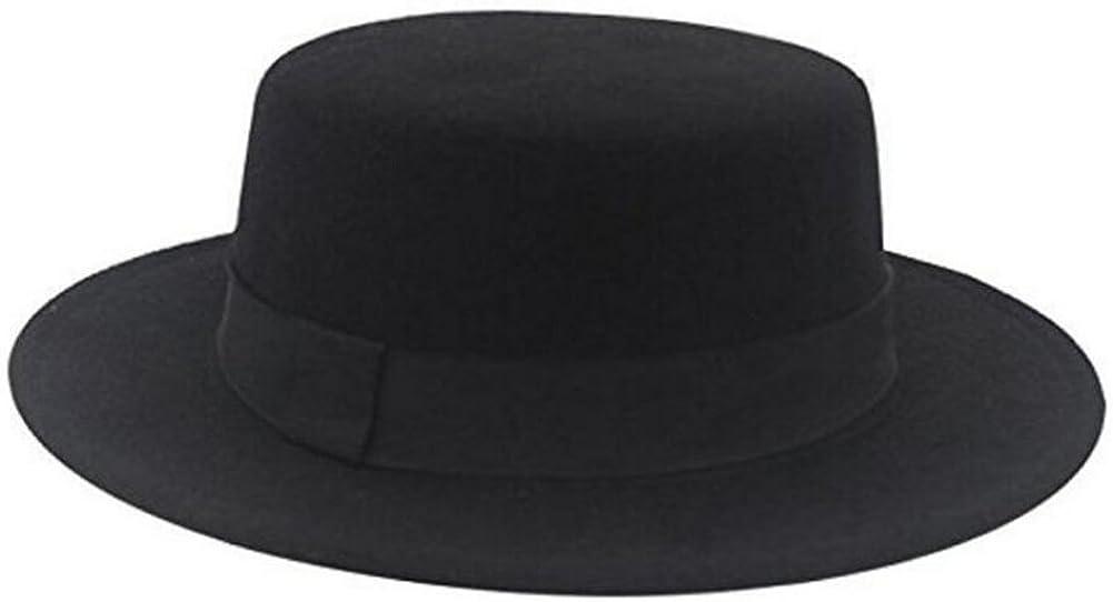 ASTRQLE Fashion Black Wool Blend Flat Brim Elegant Fedora Hat Panama Style Bowler Cap Jazz Hat with Belt for Winer Autumn