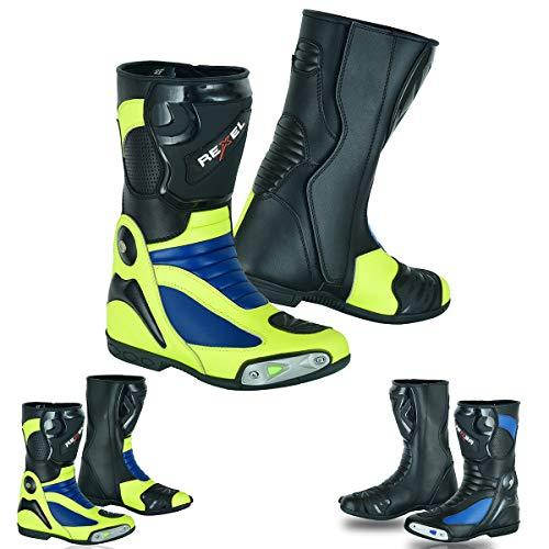 VASTER Stivali Moto Pelle Impermeabile Racing Scarpe Uomo Rider's Moto Touring CE Armour, Stivali in Pelle Giallo e Blu, Giallo (giallo blu), 42 1/3 EU