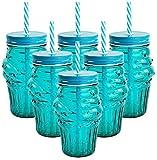 My-goodbuy24 Trinkgläser Trinkbecher - 6er Set Muffin türkis - mit Henkel und Strohhalm - große Auswahl - 450ml - in verschiedenen Designs - Trinkglas - Cocktail Glas - Gläser
