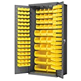 Akro-Mils All-Welded Steel Storage Cabinet with 138 Yellow AkroBin Plastic Storage Bins, AC3624Y Bin Cabinet, (36-Inch W x 24-Inch D x 78-Inch H), Gray