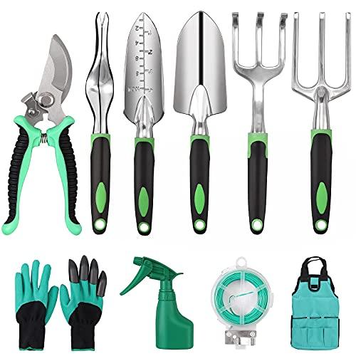 GARLLEN 13 herramientas de jardín,kit Jardineria, Pala Jardineria con Bolsa para Almacenamiento, Plantación manual