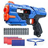 RAYNEL Blaster Guns Toy Guns for Boys with 30 Soft Foam Darts, 2 Magazine, Goggles for Kids, Teens, Adults(Blue)