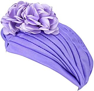Women Muslim Solid Flowers Cancer Chemo Hat Turban Headbands Hair Loss Wrap Cap