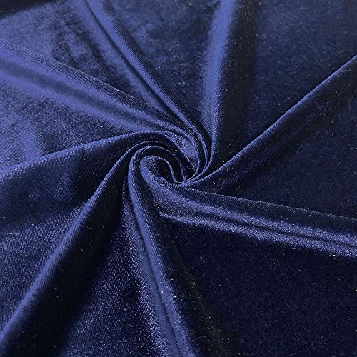 Stretch Velvet Fabric 60'' Wide by The Yard for Sewing Apparel Costumes Craft (5 Yard, Royal Blue)