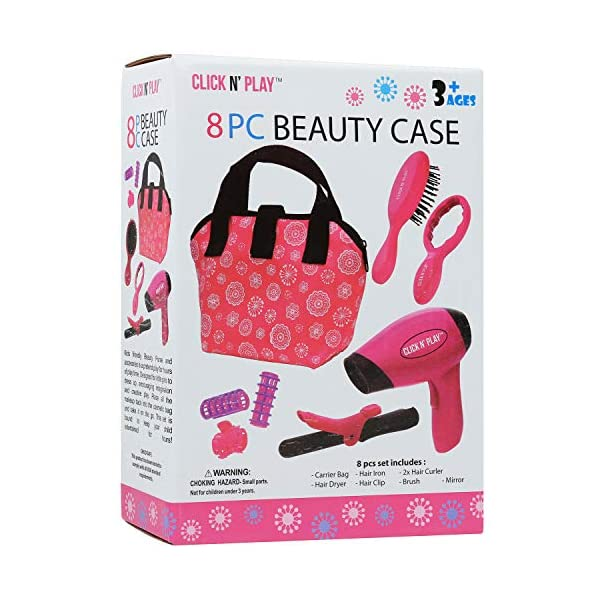 Click N' Play Set of 8 Kids Pretend Play Beauty Salon Fashion Play Set with...