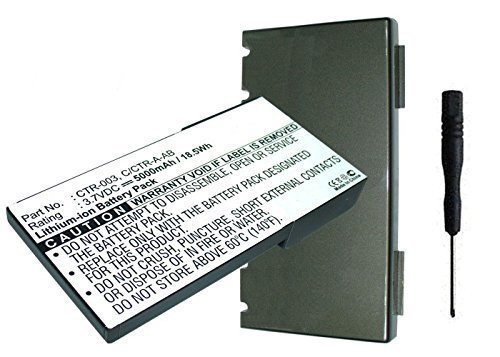 MPF Products 5000mAh Extended CTR-003 C/CTR-A-AB Battery Replacement Compatible with Nintendo 3DS N3DS CTR-001 MIN-CTR-001 Gaming Console with Back Cover and Installation Tool.