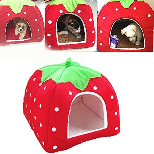 Demiawaking Weiche Haustier Schlafsack Hundehütte Katzenhöhle Hund Katze Haus (S, Erdbeeren Rot)