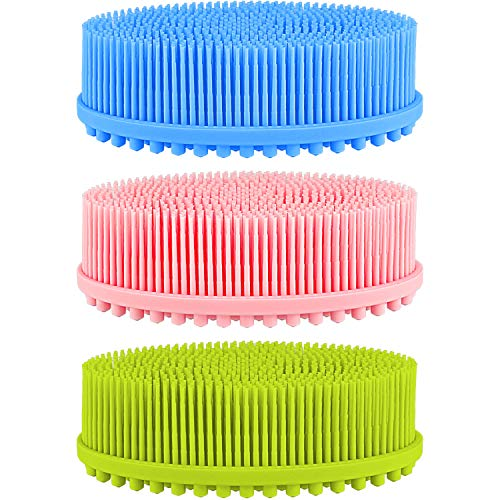 3 Pieces Exfoliating Silicone Body Scrubber Body Silicone Scrubber Brush Silicone Body Wash Scrubber for Skin Exfoliation, 3 Colors (Pink, Blue and Green)