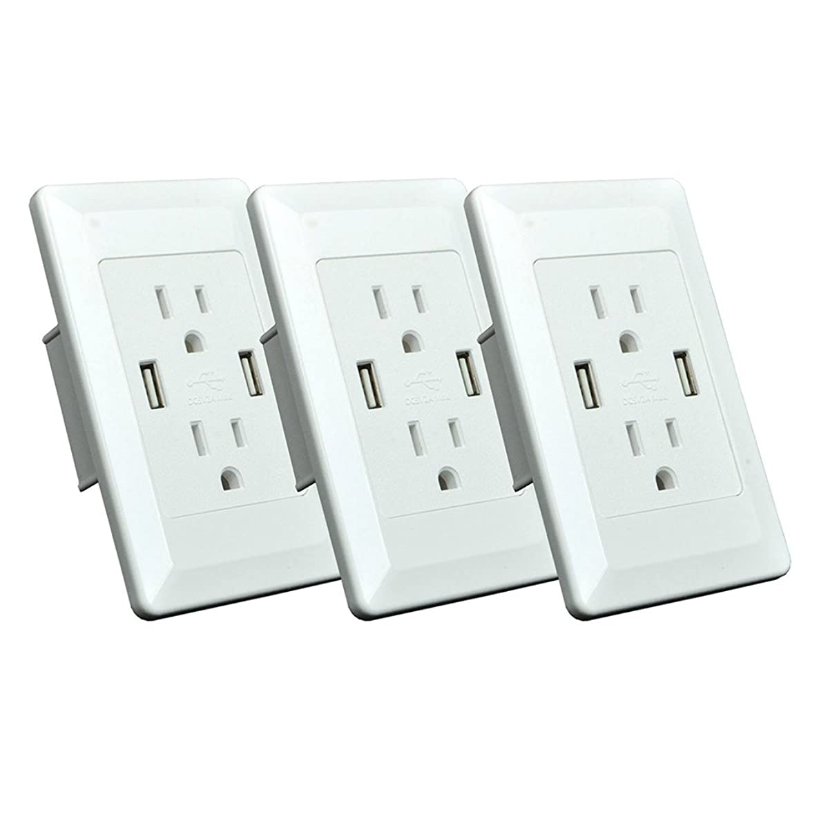 GREENCYCLE 3 Pack Smart Dual USB Charger Outlet Panel Receptacles 15A Electric Wall Charger Powe Plate Dock Station Socket