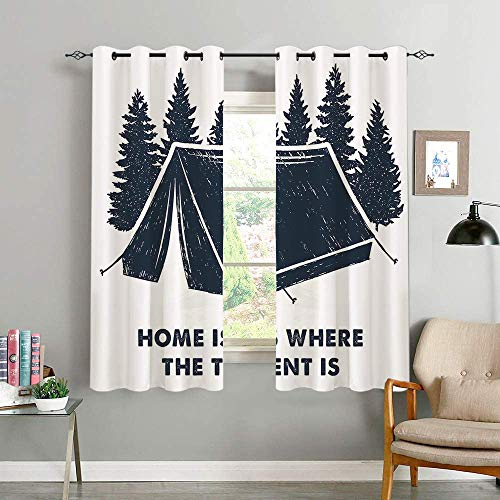 oobon Blackout Curtains,Home Is Where The Tent Is Lettering With Pine Trees Camping Travel Theme,Living Room,Bedroom,Curtain,Home Life,Decoration