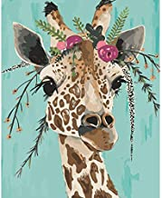 Paint by Numbers for Adults Animals Giraffe Kits on Canvas Easy to Paint for Beginner and Kids ?DIY Acrylic Painting by Numbers 16x20 inch Without Framed Arts Craft Home Wall Decor LSPBN
