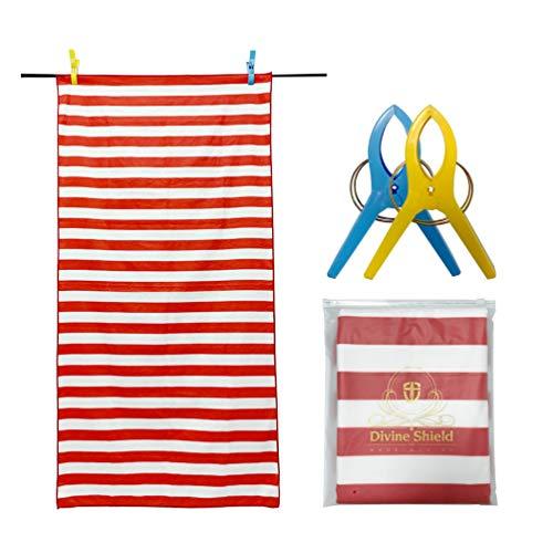 Microvezel strandhanddoek, sneldrogende microvezel handdoek met strepen, luxe outdoor-stijl, hoge absorberend, zandvrije handdoek (60 x 30 inch) voor kinderen en volwassenen, bonus handdoekclips