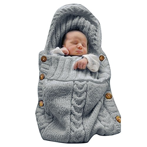 XMWEALTHY Newborn Baby Wrap Swaddle Blanket Knit Sleeping Bag Receiving Blankets...