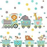 greenluup Wandtattoo Kinderzimmer Wandaufkleber Deko Zug - Kinder Wandsticker Wandaufkleber Kinderzimmer Mädchen & Jungen Eisenbahn mit Tieren und Punkten in mint