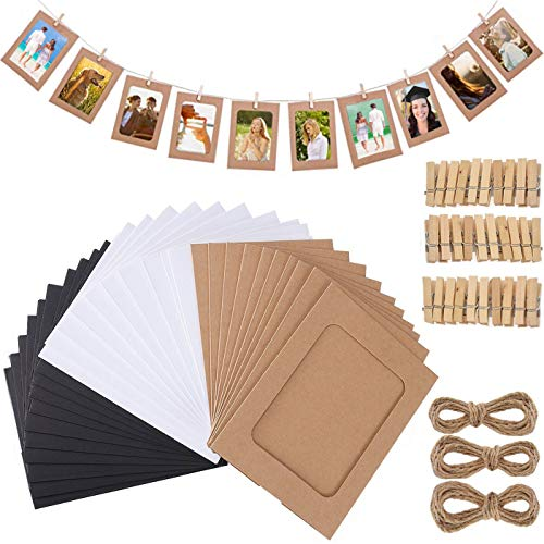 Fashion HW - Cornice portafoto in carta da 10 x 15 cm, 3 colori con mini clip in legno e corde da appendere in cartone, 6 x 4 cm, per decorazione da parete fai da te (nero+bianco+marrone)